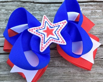 4th of July Hair Bow, Red White and Blue Hair Bow, Girls Hair Bows, Patriotic Bow, July 4th Hair Bow, Red and Blue Star Hair Bow