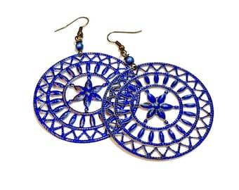 Blue Earrings,  Rustic Earrings, Big Earrings, Disc Earrings, Lightweight, Filigree,  Wagon Wheel, Shabby, Dangles