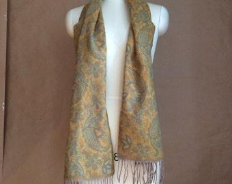 vintage 1990's ultra soft Paisley scarf / scarve / fringe detail / subtle earthtones / fall winter accessory