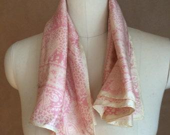 vintage 80's paisley scarve / pink scarf / neck scarve / head wrap / raspberry beret style / new wave indie retro