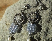 Light of Mary    Antique French Cut Steel Religious Assemblage Earrings