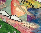 Hope, Postcard Sized Acrylic Painting, Small Art, Original Painting