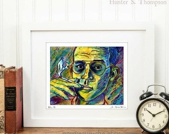 "Hunter S Thompson Colorful Pop Art Portrait Fear and Loathing Signed Print Weird Gifts Literary Home Decor- ""Turn Pro"" by D. Renee Wilson"