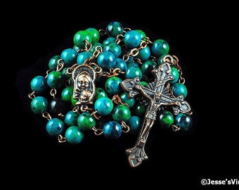 Catholic Rosary Beads Blue Green Chrysocolla Natural Stone Copper Traditional Rustic Five Decades