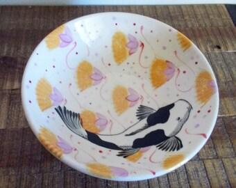 "1986 Santa Fe C Kirkwood Mei Ming Ware Pottery 8"" Koi Bowl"