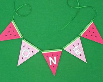 High Chair Birthday Banner - Watermelon Birthday Banner - ONE high chair birthday banner in watermelon design