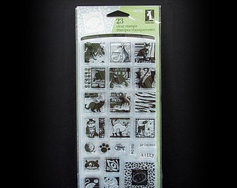 Cat Stamps, Rubber Stamps, Cling Stamps, Clear Stamps, Siamese Cat Stamp, 23 Cling Stamps, Inkadinkado Stamps, Fish Bones Stamp, Scrapbook