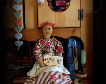 Americana Doll, Red Hair Doll, Primitive Doll, Patriotic Doll, Country Rag Doll, Primitive Shelf Sit, Stars and Stripes, Wood Heart Button
