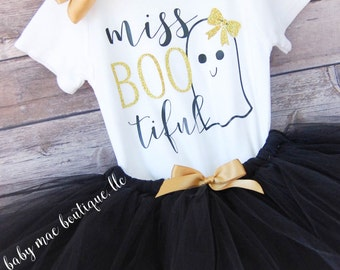 Baby Girl Halloween Outfit; Babies First Halloween Outfit; 1st Halloween; Boo Outfit