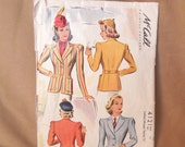SALE...Vintage 40's Sewing Pattern, McCall Pattern 4121, Size XS to Small, Bust 34, Blazer or Jacket in Two Variations
