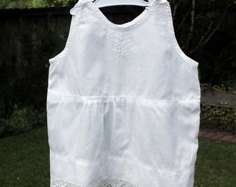 Antique Baby Toddler Under Slip Summer Dress White Cotton Handmade Lace Embroidery