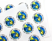 "Shop Exclusive - Your support means the world to me, thank you - Watercolor world globe - 1 1/2"" round Thank You stickers"