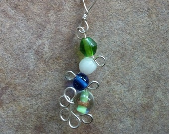 Sterling Silver pendant with green and blue beads