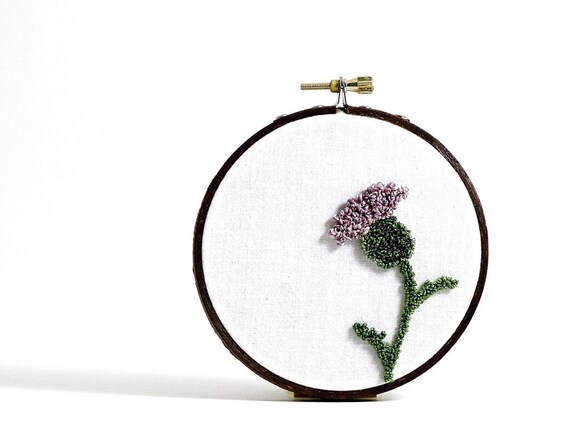 Thistle Embroidery Hoop Art. Nature Inspired Punchneedle Art. Purple, Green, White. Eco Friendly, Scotland, Brave.