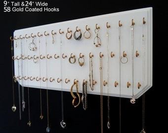Jewelry Organizer Wall Necklace Holder with 58 Coated Jewelry Hooks Assembled. 9x24 White 58 Gold,