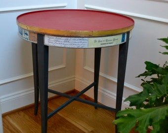 Hand Painted Emperor Silk and Graphite Chalk Painted table with a decoupage skirt