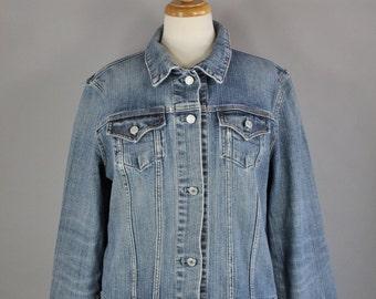 Vintage 90s Women's Gap Light Blue Denim Distressed Faded Trucker Jean Jacket
