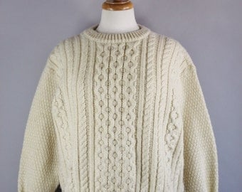 Vintage 80s Women's Cream Aran Knit Fisherman's Irish Wool Fall Winter St Patricks Day Pullover Sweater
