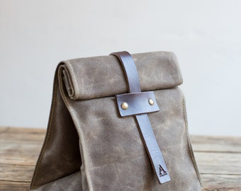 Lunch Tote in Dark Khaki w/ Tab Closure in Waxed Canvas & Brown Leather