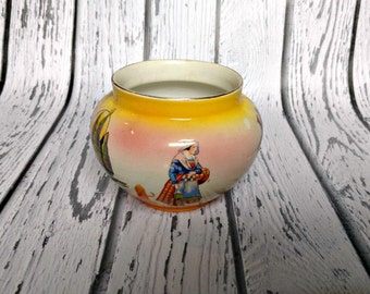 Vintage Yellow Vase - Round Vase - Souvenir of Wrexham Wales - Vase with Windmill - Farmhouse Decor - English Country - French Country
