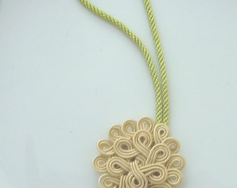Moroccan soutache art silk , handmade purse charm, accessory, beige art silk