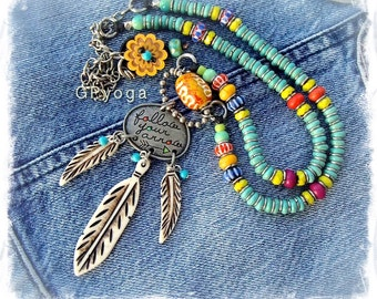 Tribal DREAMCATCHER necklace INSPIRATIONAL jewelry Spiritual Message Feather necklace Turquoise necklace Festival Boho Hippie MANTRA GPyoga