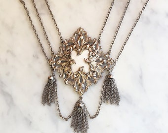 Vintage 60s 70s Huge Victorian Pendant Bib Necklace Bold Jewelry