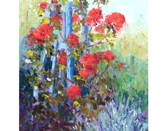 Impressionist floral art, Red Roses garden artpainting, palette knife flower painting, Summer Flowers,  Modern Impressionist art, ca.10x12""