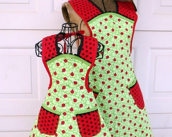 Matching Lady Bug Apron Set Mother Daughter Retro Style Aprons