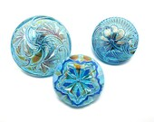Hand-painted Iridescent Czech Glass Flower Buttons, Turquoise, 3 pcs