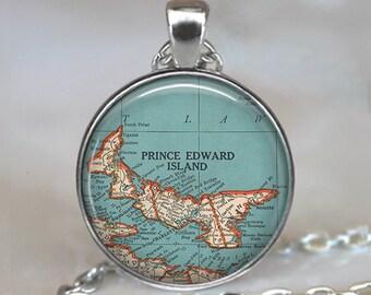 Prince Edward Island map necklace, Prince Edward Island map pendant map jewelry Maritime Provinces Canada key chain key fob