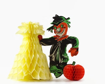 Vintage Halloween Decoration, Halloween Party Decor, Pumpkin Head Scarecrow