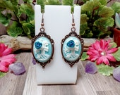 Blue Lolita Skull Earrings - Victorian Goth - Pastel Goth