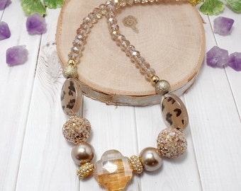 Tan Boho Chic Necklace - Tan Necklace - OOAK - Free US Shipping - Beaded Necklace - Fall Necklace