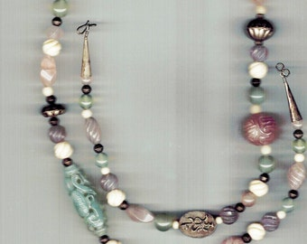 Carved Chinese Jade Necklace with Rosequartz