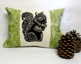 Squirrel and Wood Print Pillow - Woodland Squirrel and Wood Grain Print Pillow