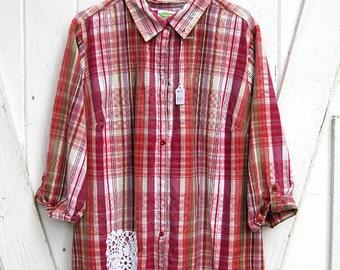 2X - 3X Plus size upcycled pink plaid shirt, funky boho tunic, prairie chic plaid shirt, boho shirt, artsy tunic by Lily Whitepad