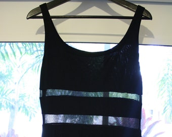 90s Black Sheer Panel Dress / Long Maxi Bodycon Dress