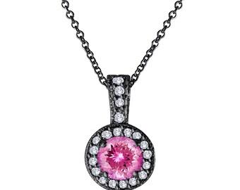 Pink Tourmaline and Diamonds Pendant Necklace 14K Black Gold Vintage Style 1.17 Carat Halo Pave Handmade