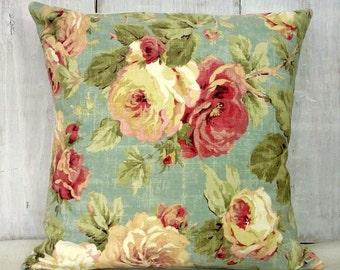 Shabby Cottage Chic Pillow Cover - Pink Roses Pillow - Romantic Cottage Decor - Blue Floral Pillow Cover