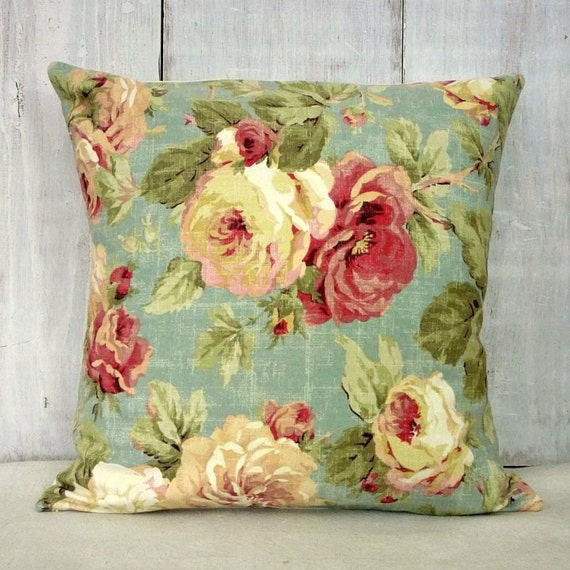 shabby cottage chic pillow cover pink roses pillow. Black Bedroom Furniture Sets. Home Design Ideas