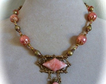 Pendant Necklace Victorian Style Copper and Rose Pink Art Deco Vintage Brooch Repurposed