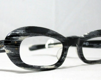 Vintage 60s Cat Eye Glasses. Black and White Stripe Faux Bois Design