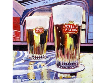Stella Artois Beer Print, Belgian Beer Art, Man Cave Beer Poster, Beer Gift for Her, Belgium Painting, Gift for Brother, 21st Birthday Gift