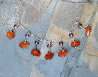 Carnelian Necklace, Amethyst Necklace, Natural Stone Necklace, Statement Necklace, Bib Necklace, Orange Necklace, Purple Necklace