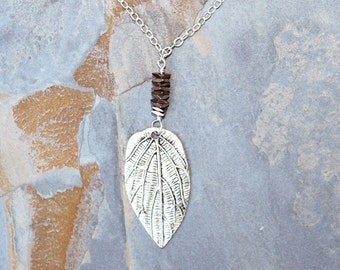 Leaf Necklace, Fall Necklace, Hematite Necklace, Silver Necklace, Autumn Necklace, Natural Stone Necklace, Handmade Necklace