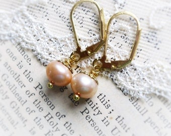 Clean & Simple, Blushing Peach Genuine Pearls, Pink Peach Freshwater Pearl Dangle Earrings by Hollywood Hillbilly