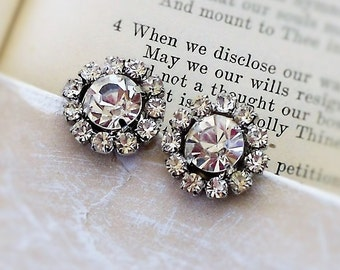 Star Burst, White  Rhinestone Cluster, Estate Style Vintage Crystal Clear Glass Jewel Post Earrings by Hollywood Hillbilly