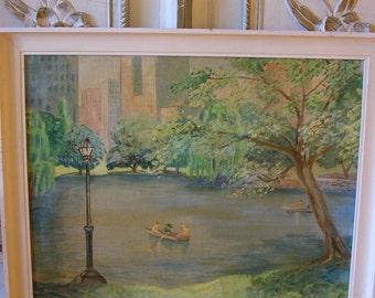 Original Oil Central Park Swan Lake Signed Vintage Painting New York Skyline & Park Boats on Pond Summer Landscape Row Boats Folk Art