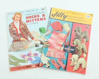 Coats and Clark's Instruction How-To Books Booklets Socks, Mittens, Accessories to Knit and Crochet